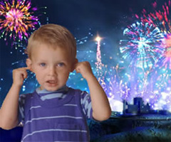 Fireworks hurting a kid's ears