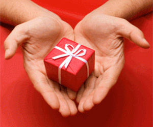 Hand offering holiday gift to charity