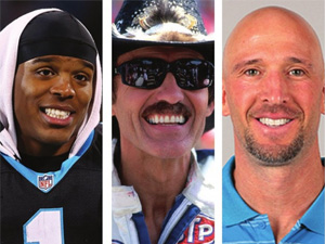 Cam Newton, Richard Petty, and Ricky Proehl