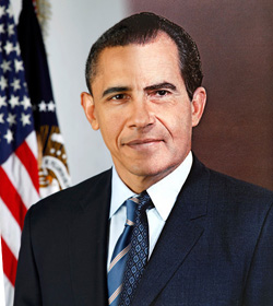 Presidents Barack Obama and Richard Nixon