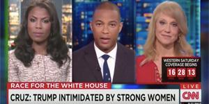 Screenshot of CNN with presidential surrogates