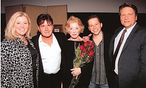 Right to left: Jim Longworth, Jon Cryer, Holland Taylor, Charlie Sheen, and Jim's wife Pam Cook