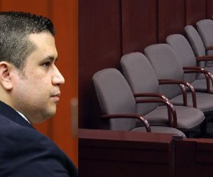 George Zimmerman and the jurors' empty seats at his trial