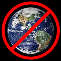 Red symbol crossing out the entire Earth, symbolizing a ban on everything