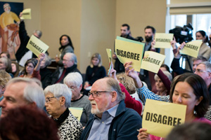 Angry attendees at town hall meeting