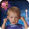 Kid plugging his ears from noise of fireworks