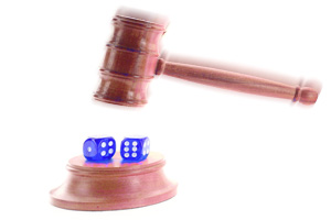 dice and judge's gavel