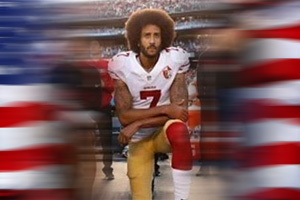 San Francisco 49ers quarterback Colin Kaepernick kneeling in protest during the national anthem in 2016