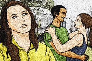 Illustration of woman looking scornfully at affectionate couple
