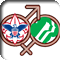 Boy Scouts and Girl Scouts logos over male and female symbols