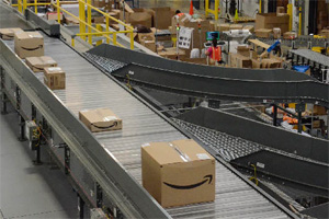 Amazon shipping packages on a conveyor line