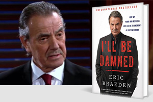 Eric Braeden as Victor Newman, with the cover to his book I'll Be Damned