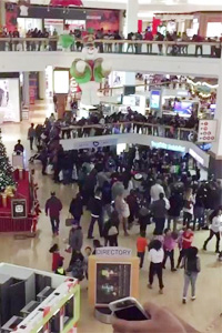 Shoppers at a mall during holidays