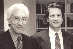TV producer Steven Bochco with Jim Longworth in earlier times