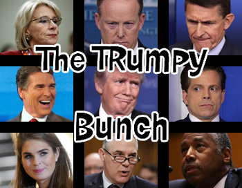 The Trumpy Bunch: Pictures of President Trump and eight of his administration members, arranged in a grid like the opening for The Brady Bunch