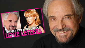 Hal Linden with a poster for the play Love Letters