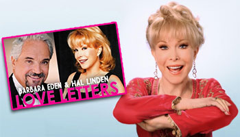 Barbara Eden with a poster for the play Love Letters