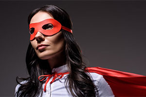 Female super hero in a mask