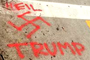Pro-Trump graffiti of a swastika