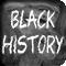 The words 'black history' written on a chalkboard