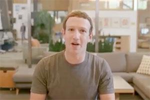 Facebook CEO Mark Zuckerberg speaking in a video