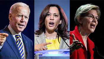 Joe Biden, Kamala Harris, and Elizabeth Warren debate