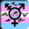 Various sports symbols surrounding a transgender symbol over a pink-blue-white transgender flag