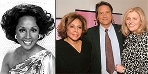 Diahann Carroll, in 1976 (on left) and in 2008, with Jim Longworth and his wife Pam Cook
