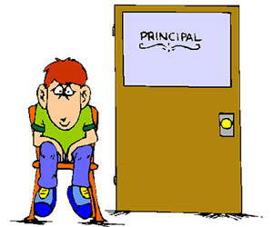 A pupil waiting outside a school principal's office