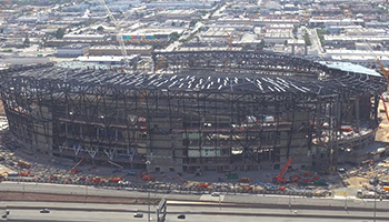 Allegiant Stadium, future home of the Las Vegas Raiders, under construction