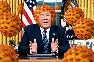 Donald Trump in the oval office with coronaviruses all around him