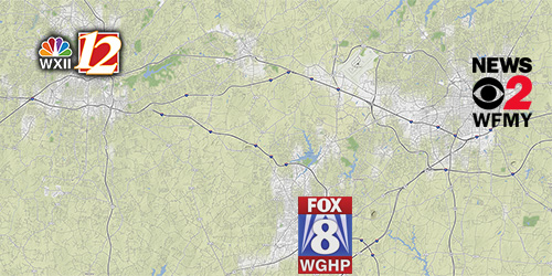 Map of Piedmont Triad showing WXII, WGHP and WFMY TV stations