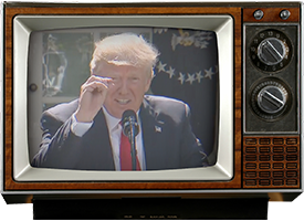 Donald Trump appearing on an old-fashioned TV set