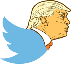 The Twitter bird symbol with its head replaced with Donald Trump's head