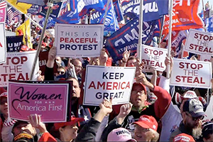 Pro-Trump protesters at a post-election rally