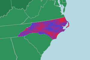A map of the southeast United States with a mottled red-and-blue pattern covering North Carolina