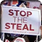 A Stop the Steal sign at a post-election rally