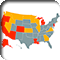 US map showing the states with active governor recall efforts in red, and states that allow governor recalls in orange