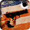 A hand aiming a handgun, superimposed over a US flag with a bullet hole