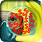 A scientist wearing protective equipment examining a petri dish with glowing dollar signs in it