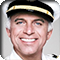 Actor Gavin MacLeod in his role as Captain Stubing on The Love Boat